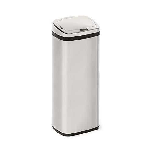 Klarstein Cleansmann cubo de la basura con sensor - 50 litros de volumen, sin tocarlo: apertura y cierre automáticos, soporte para bolsa de basura, materiales: tapadera de plástico ABS, cromo