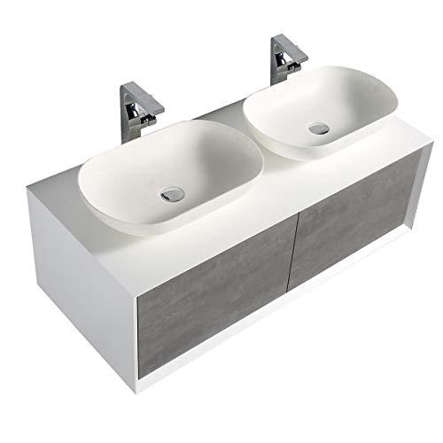 Badmöbel Fiona 1200 Weiß matt - Front in Beton-Optik - ohne zusätzl. Blende, Mit Spiegelschrank G1200, Ohne Waschbecken