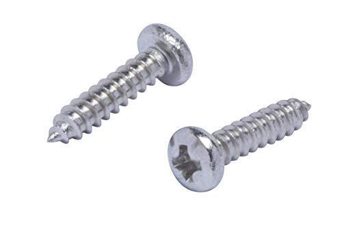 """#12 X 3"""" Stainless Pan Head Phillips Wood Screw, (25pc), 18-8 (304) Stainless Steel Screws by Bolt Dropper"""