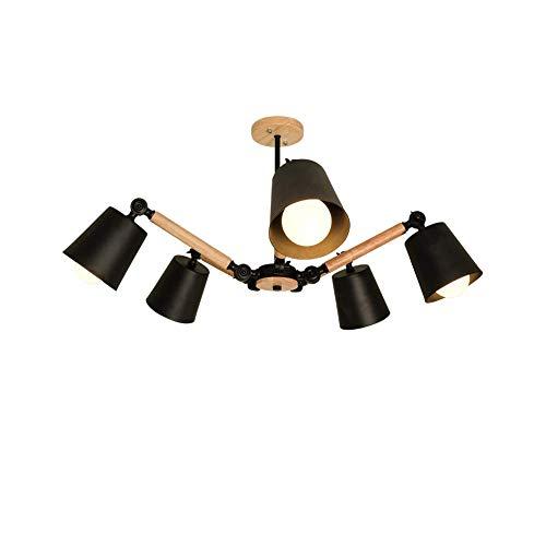 Candelabro de madera LED moderno 5 luces E27 Luz colgante ajustable creativa para cafetería Dormitorio Pasillo Luz colgante-Negro 98 * 43cm