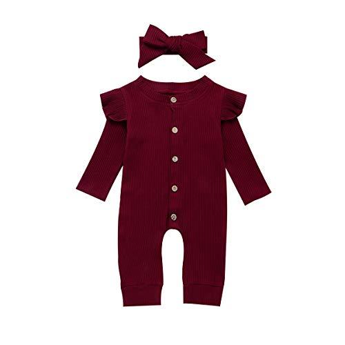 Seyurigaoka Newborn Baby Girls One Piece Jumpsuit, Infant Girl Knitted Romper Ruffle Long Sleeve Basic Bodysuit Underwear (Wine Red, 6-12 Months)