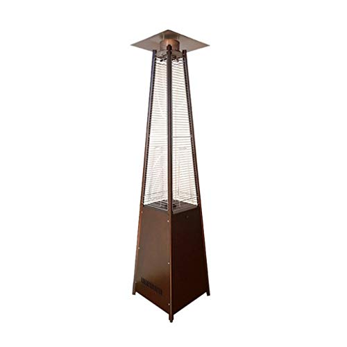 Estufa Exterior Gas Calentadores de Patio, Exterior Interior Vidrio Piramidal Calentador Vertical Calefacción Ajustable Calentador de Gas Licuado con Ruedas Calentadores
