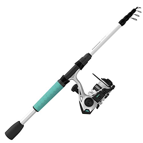 Zebco Roam Spinning Reel and Telescopic Fishing Rod Combo, Extendable 19-Inch to 6-Foot Telescopic Fishing Pole with ComfortGrip Rod Handle, Instant Anti-Reverse Fishing Reel, Seafoam