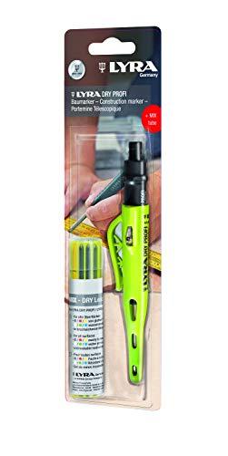 LYRA 4498102 Marqueur Professionnel sèches Rechange (Multicolores) -Porte-Mine pour Toutes Les Surfaces, avec Taille-Crayon, Bleu