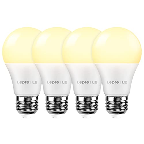 Lighting EVER LED Smart Light Bulbs Works with Alexa and Google Home, 60 Watt Equivalent, Dimmable with App, 4 Count (Pack of 1), Warm White 2700K, No Hub Required, A19 E26, 2.4GHz WiFi, Pack of 4