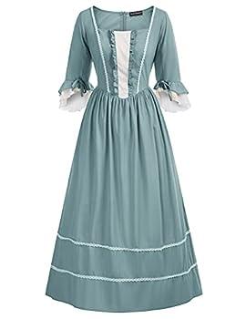 Woman Lady Pioneer Colonial Costume Victorian Peasant Dress Denim Blue M