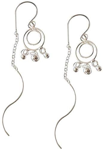 Pendientes Pendientes de plata de ley sencillos y de moda, pendientes largos clásicos exquisitos de moda y populares,