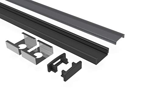 Tivendis Led Alu Profil 2 m AF2 schwarz Komplett Set für Strip/Streifen bis 12 mm breit | Abdeckung schwarz, Endkappen, Befestigungclips | U-Form Aufputz Deckenleiste Wandprofil pulverbeschichtet
