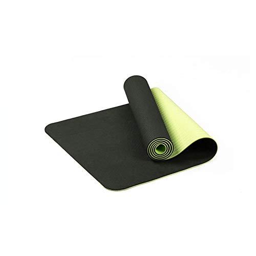Yuan Ou Esterilla Yoga 183 * 61 cm 6 mm Espesor de Doble Color Antideslizante TPE Yoga Mat Ejercicio de Calidad Estera Deportiva para Fitness Gym Home Tasteless Pad Negro