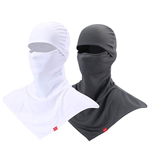Balaclava Face Mask for Sun Protection Breathable Long Neck Covers for Men (Grey+White)