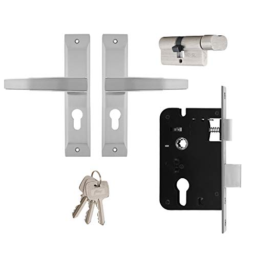 Godrej Locks NEH 06 1CK 20cm Zinc Alloy Door Handle Satin Steel Set with Lock Body and Cylinder