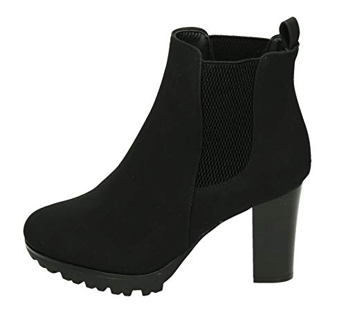 JUMEX Damen Stiefeletten Ankle Boots Plateau Stiefel Schuhe 77 (38, Schwarz)