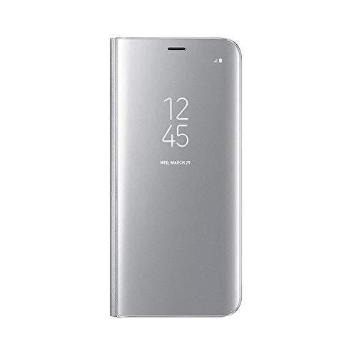 UILY Funda Compatible con Samsung Galaxy M42 5G, Carcasa Espejo Perspectiva Voltear Inteligente Ultradelgada Moda, Concha con Función Soporte Anticaída. Plata