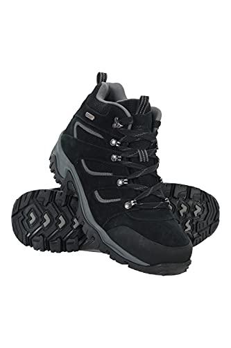 Mountain Warehouse Chaussures mi-Hautes Voyage Hommes - revêtement en Daim & Maille, imperméables, Semelle intermédiaire EVA, Semelle en Caoutchouc - Marche, randonnée Noir 43