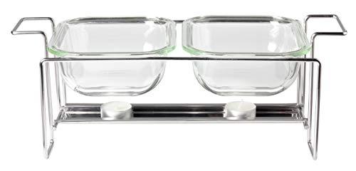 Leonardo Set Gusto Speisewärmer und 2 Auflaufformen, 3-teiliges Set, hitzebeständiges Klarglas und Metall, 034309