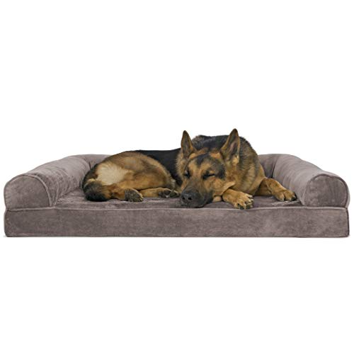 Furhaven Pet Dog Bed - Orthopedic Faux Fur and Velvet Traditional Sofa-Style Living Room Couch Pet Bed with Removable Cover for Dogs and Cats, Driftwood Brown, Jumbo