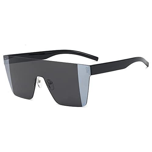 Gefüllte Gafas de Sol cuadradas de Gran tamaño Mujeres sin Marco en Forma de A Parte Superior Plana Hombres y Mujeres Diseño Retro UV400 Sombra Negro Púrpura