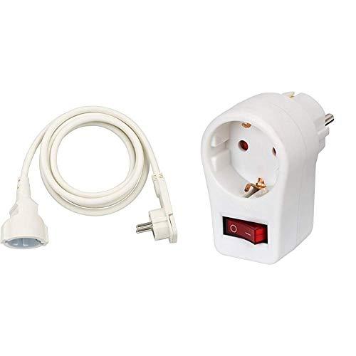 Brennenstuhl Qualitäts-Kunststoff-Verlängerungskabel mit Flachstecker, weiß & Steckdosenadapter (Schutzkontaktsteckdose mit Schalter, Zwischenstecker mit Kindersicherung) weiß