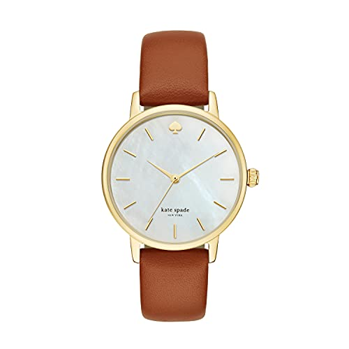 Kate Spade New York Women's Metro Quartz Stainless Steel and Leather Watch, Color: Gold, Brown (Model: KSW1142)