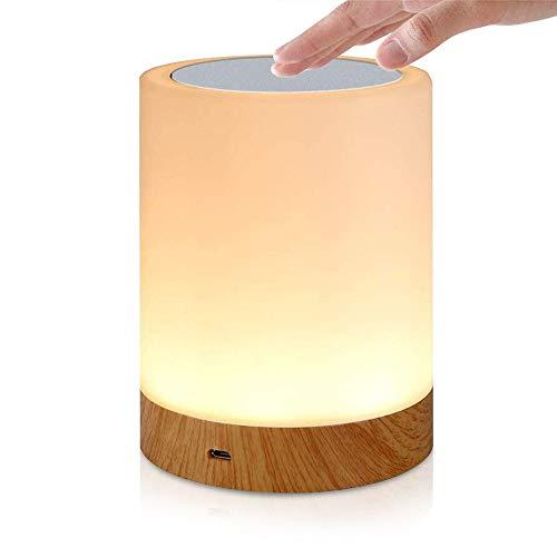 LED Nachttischlampe, SZSMD Dimmbar Nachtlicht, Tragbare Schlafzimmer Tischleuchte, Wiederaufladbar buntes Licht mit einstellbarer 3 Warmes Licht für Kinder Baby Schlafzimmer, Büro und Camping