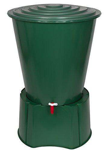 XL Regentonne 210 Liter aus Kunststoff in Grün. Mit sehr robustem Monoblock Stand, Wasserhahn und Deckel mit Sicherheitsverschluss! Top Qualität