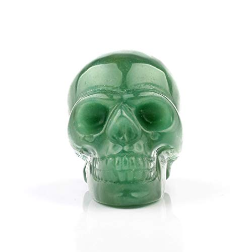 50mm Green Aventurine Carved Skull Crystal Reiki Healing Statue Collectible Figurine Charka Stone (Green Aventurine)