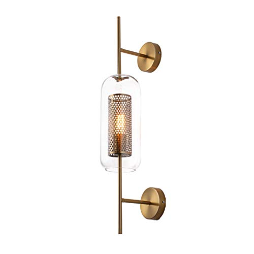 Aks Yue Vintage Schmiedeeisen Gitter Doppel-Kopf LED-Wandleuchte Glas-Wandleuchte Restaurant Wohnzimmer Aisle Nachttischlampe (Gold) 110V ~ 220V Hoch 78cm
