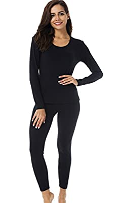 HieasyFit Women's Thermal Underwear Fleece Lined Winter Base Layer Set(Black S)
