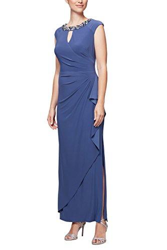 Alex Evenings Damen Long Cap Sleeve Dress with Cutout (Petite and Regular Sizes) Kleid für besondere Anlässe, violett, 48