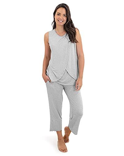 Kindred Bravely Tulip Hem Maternity & Nursing Pajamas   Nursing Pajama Set (Grey Heather, Medium)