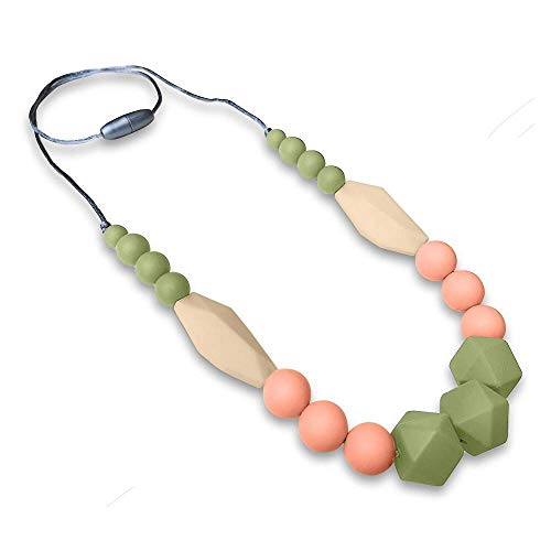 REIGNDROP Baby Teething Necklace for Mom, Silicone Teether Necklace for Teething Pain Relief in Babies and Toddlers, Light Weight, Stylish Chewable Necklace for Boys and Girls (Sage/Peach/Ivory)