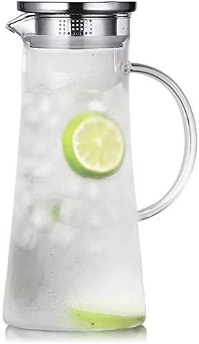 Tetera hervidor de agua de 1,5 L, jarra de agua de borosilicato, hervidor de vidrio caliente/frío, hervidor de agua con tapa y asa para té helado y bebidas jugosas, taza de té 100% sin BPA