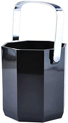 SHKUU Cubo de Hielo, Cubo de Hielo Octogonal de acrílico Negro de 1 litro, Cubo de champán de plástico para el hogar, Servicio de Bar de Hotel, barbacoas, Fiestas, Bares, Clubes, restaurantes