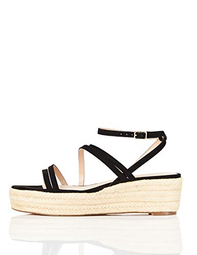 Marchio Amazon - find. Strippy Wedge Espadrille Sandalo Espadrillas con Zeppa, Nero (Black), 41 EU