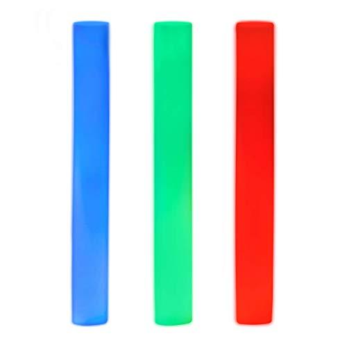 Relaxdays LED Schaumstoffstab mit 6 Effekten, mit 3 LED, Farbwechsel, Partystick, Leuchtstick, rot / grün / blau