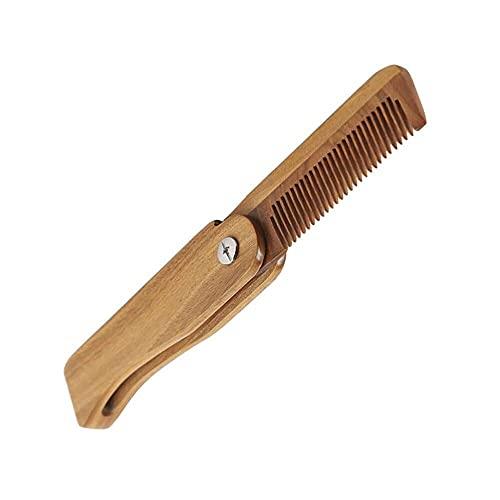 YNHNI Peine de madera portátil pequeño plegable peine hombres y mujeres natural verde sándalo cuidado del pelo peine