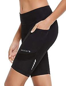 BALEAF Women's Cycling 3D Padded Bike Shorts Side Pocket UPF 50+ Black Size L