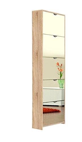 AVANTI TRENDSTORE - Koblenz - Scarpiera con Specchio e con 5 vani a ribalta in Laminato, in 2 Colori Diversi Disponibile, Dimensioni: Lap 58x177x17 cm (Marrone)