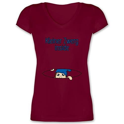 Schwangerschaft - Babybauch Kleiner Zwerg Inside - L - Bordeauxrot - Hut schiffchen - XO1525 - Damen T-Shirt mit V-Ausschnitt