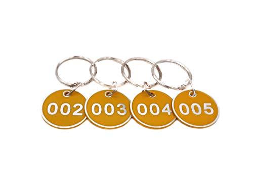 Juego de llaveros con chapas de metal numeradas, de aleación de aluminio, para llaves, número de identificación, llaveros numerados, 50 unidades, amarillo, 1 to 50