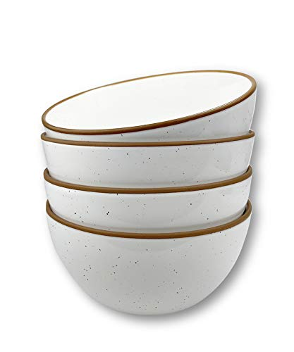 Mora Ceramic Bowls For Kitchen, 28oz - Bowl Set of 4 - For Cereal, Salad, Pasta, Soup, Dessert, Serving etc - Dishwasher, Microwave, and Oven Safe - For Breakfast, Lunch and Dinner - Vanilla White
