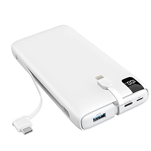 SOARAISE Power Bank 26800mAh PD 18W Cargador Portátil de Carga Rápida Paquete de Batería Externa con 2 Cables Integrados para Teléfonos Inteligentes, Tabletas