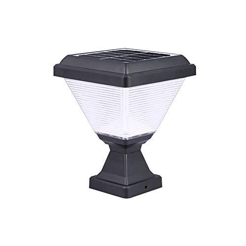 HHKQ Lámpara Solar Exterior, Luces al Aire Libre Negro Moderna Lámpara de Sobremuro para Jardín Exteriores IP65 Impermeable Luces de Poste para Patio Porche Farola,White light