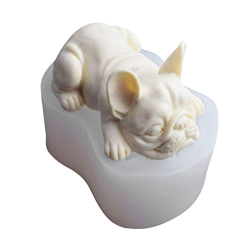 TOYANDONA 3D French Bulldog Silicone Mold Fondant Chocolate Candy Cake Mold Candle Soap Cake Decor Party Favors