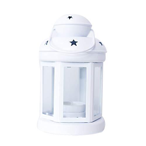 mogist decorativa Candelabro Hierro forjado Wind Densidad Europea lámpara de mesa decoración Home boda Navidad Farol, Blanco, 10*21.5cm