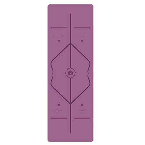 Résistant à l'humidité Portable Caoutchouc Naturel Voyage Pliable Mince Pad Positionnement Suede Ligne Yoga Mat antidérapante Magasin Couverture Serviette Lumière (Color : Purple)