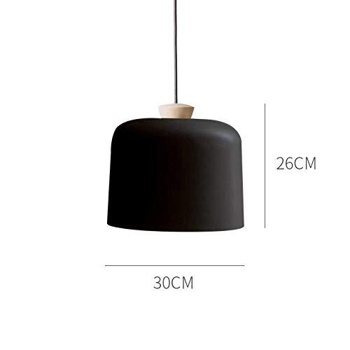 Kleiner Leuchter der kreativen Persönlichkeit, Restaurantteeshopcafé-Stehtischlampe, kleiner Leuchter des modernen einfachen Lampenschirms aus massivem Holz@Schwarz (30cm Durchmesser)