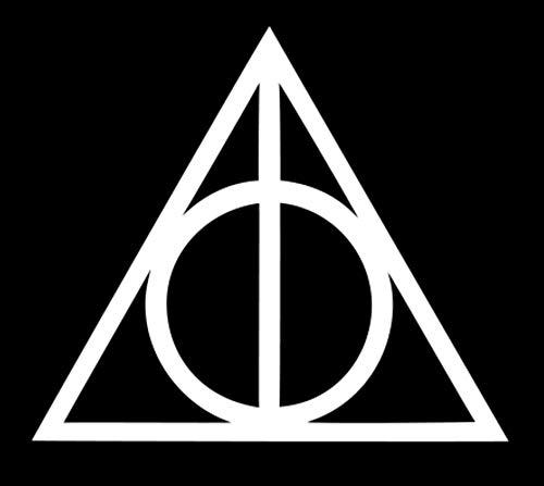 Die Heiligtümer des Todes Harry Potter   gestanzter Vinyl-Aufkleber für Auto, Fenster, Stoßstange, LKW, Laptop, iPad, Notebook, Computer, Skateboard, Motorrad Elfenbein weiß 5