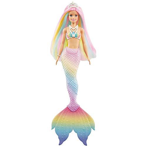 Barbie Bambola Sirena Cambia Colore con Capelli Arcobaleno, Giocattolo per Bambini 3+Anni, GTF89