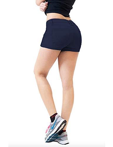 Womens Butt lifting Twill Denim Shorts SH43308 NAVY 5